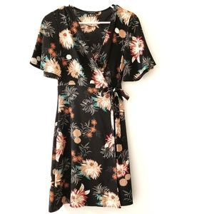 Atmosphere Wrap Around Floral Black Dress size 2
